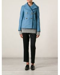 Golden Goose Deluxe Brand | Blue 'Jason' Peacoat With Brooch | Lyst
