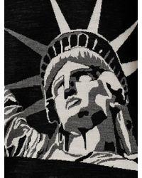 Fausto Puglisi Black Statue Of Liberty Wool Jacquard Sweater for men
