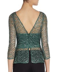 Kay Unger | Green Cropped Faille Bolero | Lyst