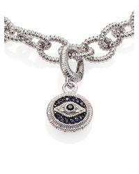 Judith Ripka Metallic Multicolor Sapphire & Sterling Silver Evil Eye Charm