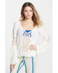 Rip Curl | White 'earth Angel' Peasant Top | Lyst