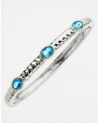Lord & Taylor | 14 Kt. Gold And Sterling Silver Blue Topaz Bangle Bracelet | Lyst