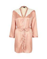 River Island - Pink Silky Jacquard Lace Kimono - Lyst