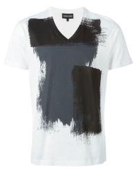 Emporio Armani Black Cotton V-neck T-shirts 2 Pack In Regular Fit for men