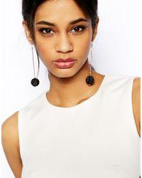 Lipsy | Black Glitter Ball Drop Earrings | Lyst
