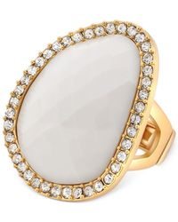 T Tahari - Metallic Gold-Tone Ivory Stone Crystal Stretch Ring - Lyst