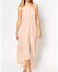 ASOS | Pink Halter Swing Maxi Dress With Gold Necklace | Lyst