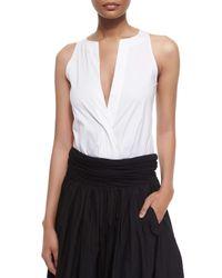 Donna Karan - White Sleeveless Split-neck Bodysuit - Lyst
