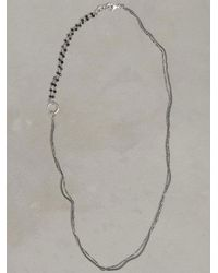 John Varvatos Metallic Silver & Black Bead Necklace for men