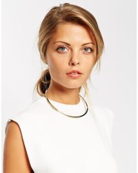 ASOS - Metallic Gold Plated Brass Fine Collar Necklace - Lyst