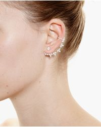 Yvonne Léon Metallic 18K Gold And Diamond Leaf Chain Earring