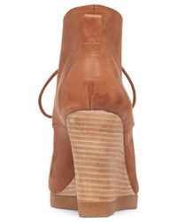 Lucky Brand Brown Women's Taheeti Lace-up Wedge Booties