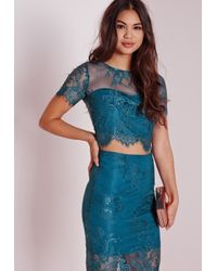 Missguided - Blue Crop Lace Top Teal - Lyst