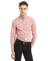 Kenneth Cole - Red Slim Fit Iridescent Check Sportshirt for Men - Lyst