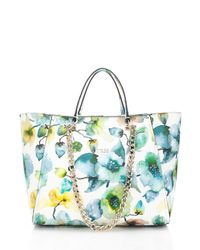 Guess Nikki Floral Chain Tote Bag In Blue | Lyst