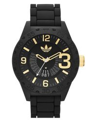 Adidas Originals - Black 'newburgh' Silicone Strap Watch for Men - Lyst