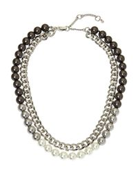 Givenchy - Metallic Two-Row Chain & Faux Pearl Necklace - Lyst
