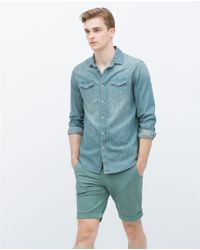 Zara | Blue Basic Denim Shirt for Men | Lyst