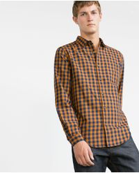 Zara | Yellow Gingham Check Shirt for Men | Lyst