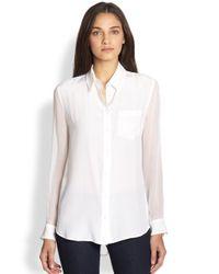 Equipment   White Reese Silk Sheerpaneled Shirt   Lyst