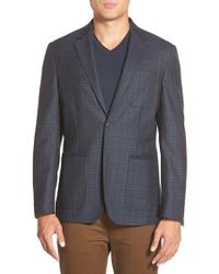 Vince Camuto | Blue 'air' Slim Fit Plaid Blazer for Men | Lyst