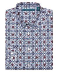 Perry Ellis - White Floral Tile-print Shirt for Men - Lyst