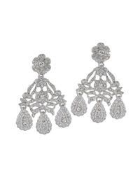 Kenneth Jay Lane | Metallic Crystal Drop Clip Earring | Lyst