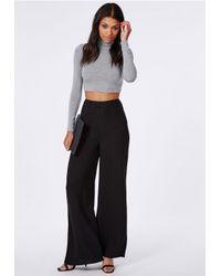 Missguided Premium Crepe Wide Leg Trousers Black in Black - Lyst 7c22a2b9449a