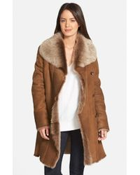 Hide Society | Brown Hidesociety Raw Edge Genuine Toscana Shearling Coat | Lyst