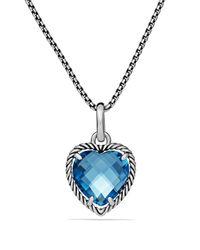 David Yurman | Cable Heart Pendant With Hampton Blue Topaz | Lyst