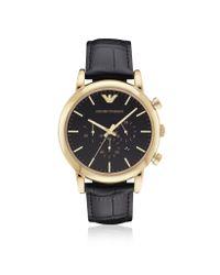 Emporio Armani Metallic Luigi Goldtone Stainless Steel Men's Watch W/black Dial for men