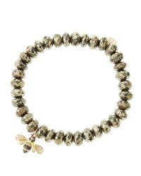 Sydney Evan Metallic 8Mm Faceted Champagne Pyrite Beaded Bracelet With 14K Gold/Diamond Bee Charm (Made To Order)