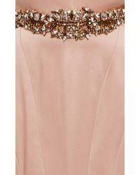 Marchesa Pink Silk Satin V-neck Gown