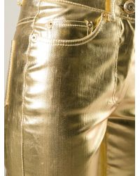 Moschino - Metallic Skinny High-Waisted Stretch-Denim Jeans - Lyst