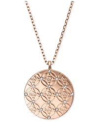 Michael Kors | Pink Monogram Disk Pendant Necklace | Lyst