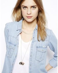 Pull&Bear - Metallic Pull Bear Two Pack Elephant Necklace - Lyst