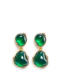 Kenneth Jay Lane | Green Cabochon Stone Drop Clip Earrings | Lyst