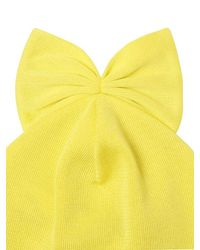 Federica Moretti Yellow Ribbed Cotton Beanie Hat With Bow for men