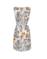 Paul Smith White Floral-Print Cotton and Linen-Blend Dress