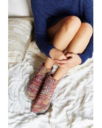 Urban Outfitters Multicolor Mixed Stitch Knit Slipper Sock