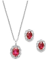 Macy's | Pink Ruby (2 Ct. T.w.) And Diamond Accent Jewelry Set In Sterling Silver | Lyst