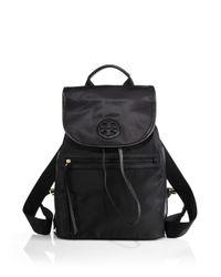 Tory Burch - Black Nylon Flap Backpack - Lyst
