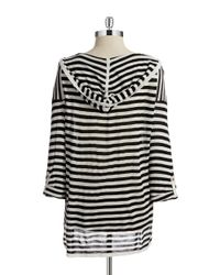 Calvin Klein | Black Striped Hi-lo V-neck Sweater | Lyst