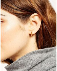 ASOS | Metallic Gold Plated Sterling Silver Triangle Hoop Earrings | Lyst