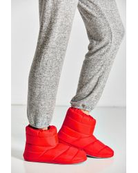 Urban Outfitters Red Nylon Bootie Slipper