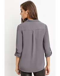 Forever 21 | Gray Zip-front Pocket Shirt | Lyst