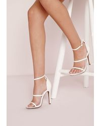 72bc8b9cd843 Missguided Three Strap Barely There Heeled Sandals White in White - Lyst
