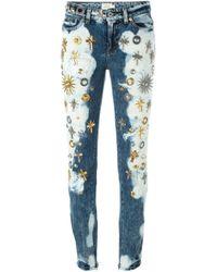 Fausto Puglisi - Blue Embellished Slim Jeans - Lyst