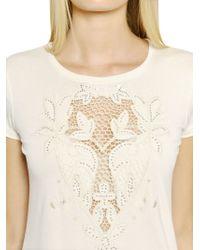 Blumarine - Natural Lace Insert Viscose Jersey T-shirt - Lyst