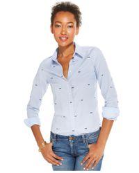 Tommy Hilfiger Blue Bowtie-Print Button-Down Shirt